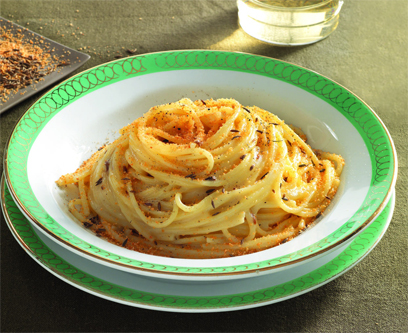 cuisine italienne, spaghetti du poete ungaretti